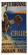 Vintage Poster -  Mediterranean Cruises Beach Towel