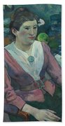 Woman In Front Of A Still Life By Cezanne Beach Towel