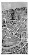 New Orleans Street Map Beach Towel