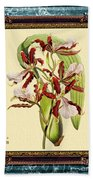 Vintage Orchid Antique Design Marble Blue-green  Beach Towel