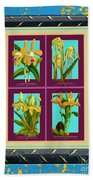 Antique Orchids Quatro On Rusted Metal And Weathered Wood Plank Beach Towel