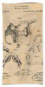 1880 Military Saddle Patent Print Antique Paper Beach Towel