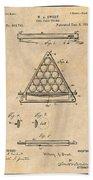 1891 Billiard Ball Rack Patent Print Antique Paper Beach Towel