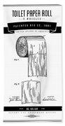 1891 Toilet Paper Roll - Black Retro Style Beach Sheet