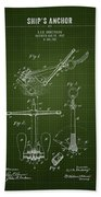 1892 Ships Anchor - Dark Green Blueprint Beach Towel