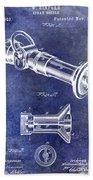1896 Fire Hose Spray Nozzle Patent Blue Beach Towel