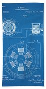 1896 Tesla Alternating Motor Blueprint Patent Print Beach Towel