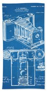 1899 Photographic Camera Patent Print Blueprint Beach Towel