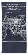 1901 Stratton Motorcycle Blackboard Patent Print Beach Towel