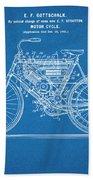 1901 Stratton Motorcycle Blueprint Patent Print Beach Towel