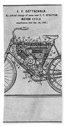 1901 Stratton Motorcycle Gray Patent Print Beach Towel