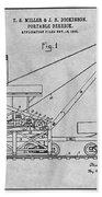 1903 Railroad Derrick Gray Patent Print Beach Towel