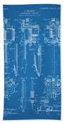 1904 Wagner Tattoo Machine Blueprint Patent Print Beach Towel