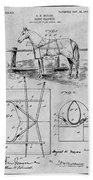 1905 Horse Blanket Patent Print Gray Beach Towel