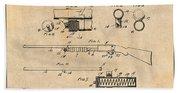 1913 Remington Model 17 Pump Shotgun Antique Paper Patent Print Beach Towel
