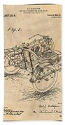 1913 Side Car Attachment For Motorcycle Antique Paper Patent Print Beach Towel
