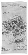 1913 Side Car Attachment For Motorcycle Gray Patent Print Beach Towel