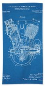 1914 Spacke V Twin Motorcycle Engine Blueprint Patent Print Beach Towel