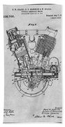 1914 Spacke V Twin Motorcycle Engine Gray Patent Print Beach Towel