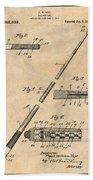 1917 Billiard Pool Cue Antique Paper Patent Print Beach Towel
