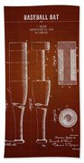1919 Baseball Bat - Dark Red Blueprint Beach Towel