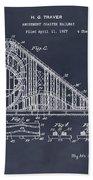 1927 Roller Coaster Blackboard Patent Print Beach Towel