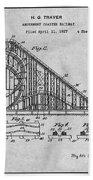 1927 Roller Coaster Gray Patent Print Beach Towel