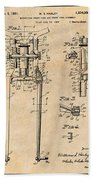 1929 Harley Davidson Front Fork Antique Paper Patent Print Beach Towel