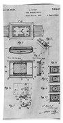 1930 Leon Hatot Self Winding Watch Patent Print Gray Beach Towel
