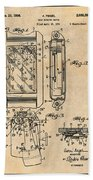 1931 Self Winding Watch Patent Print Antique Paper Beach Towel