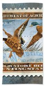 1934 Hunting Stamp Collage Beach Towel by Clint Hansen