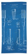 1935 Phillips Screw Driver Blueprint Patent Print Beach Towel