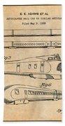 1935 Union Pacific M-10000 Railroad Antique Paper Patent Print Beach Towel