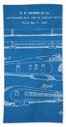 1935 Union Pacific M-10000 Railroad Blueprint Patent Print Beach Towel