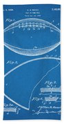 1936 Reach Football Blueprint Patent Print Beach Towel