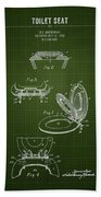 1936 Toilet Seat - Dark Green Blueprint Beach Towel