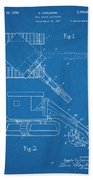 1937 Backhoe Excavator Blueprint Patent Print Beach Towel