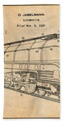 1937 Jabelmann Locomotive Antique Paper Patent Print Beach Towel