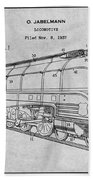 1937 Jabelmann Locomotive Gray Patent Print Beach Towel