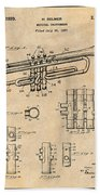 1937 Trumpet Antique Paper Patent Print Beach Towel