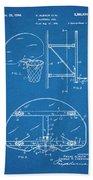 1944 Basketball Goal Blueprint Patent Print Beach Towel