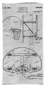 1944 Basketball Goal Gray Patent Print Beach Towel