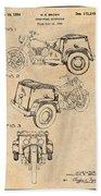 1952 3 Three Wheel Motorcycle Antique Paper Patent Print Beach Towel