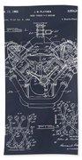 1954 Chrysler 426 Hemi V8 Engine Blackboard Patent Print Beach Towel