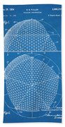 1954 Geodesic Dome Blueprint Patent Print Beach Towel