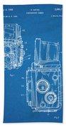 1960 Rolleiflex Photographic Camera Blueprint Patent Print Beach Towel