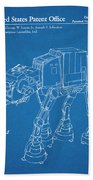 1982 Star Wars At-at Imperial Walker Blueprint Patent Print Beach Towel