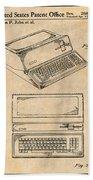 1983 Steve Jobs Apple Personal Computer Antique Paper Patent Print Beach Towel