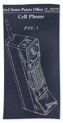 1988 Motorola Cell Phone Blackboard Patent Print Beach Towel