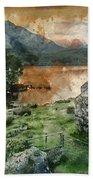 Digital Watercolor Painting Of Panorama Landscape Stunning Sunri Beach Sheet